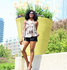 Cora Series Jord Wood Watch styled with a Forever 21 Sequin Top x Express Satin Shorts x Le Chateau Heels