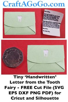 FREE Cut File for tiny 'handwritten' letter and envelope from the tooth fairy - SVG EPS DXF PNG PDF for Cricut and Silhouette. Free Svg Cut Files, Silhouette Machine, Paper Envelopes, Vinyl Crafts, Tooth Fairy, Silhouette Projects, Cutting Files, Teeth, Cricut