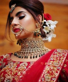 Perfect finishing to a bridal look is given by stunning nose rings! Book the best makeup artist now with BookEventZ to get the perfect bridal look on THE DAY! Red Lehenga, Bridal Lehenga, Lehenga Choli, Anarkali, Sabyasachi Sarees, Sabyasachi Bride, Bridal Accessories, Bridal Jewelry, Gold Jewellery