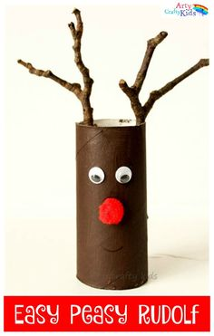 Easy Paper Roll Rudolf Christmas Craft