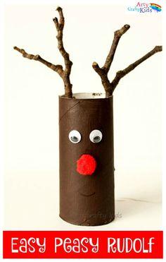Easy Paper Roll Rudolf Christmas Craft