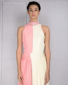 Rose Pink and Ivory Pleated Dress with Pants