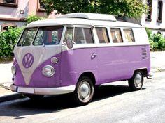 a purple vw bus!