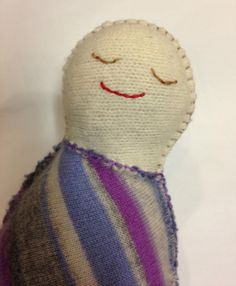 My First Sweater Pal - purple striped cashmere upcycled / repurposed doll - Waldorf inspired