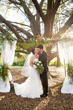 DIY'd wedding arbor for outside tree wedding