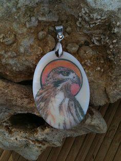 Hawk Totem Animal Mother of Pearl Amulet by by MickieMuellerStudio
