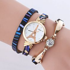 PU Leather Rhinestone Eiffel Tower Bracelet Watch #CLICK! #clothing, #shoes, #jewelry, #women, #men, #hats