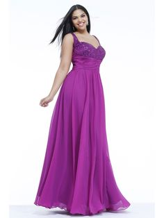 A-line Straps Sleeveless Floor Length / Long Plus Size Chiffon Prom / Evening / Formal / Party Dresses 2401068