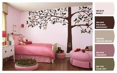 Best Tree Wall Murals Stickers for Girls Bedroom Decoration Design with Pink Themes Ideas Best Wall Murals Decoration for Kids Bedroom Design Ideas Cute Girls Bedrooms, Pink Bedroom For Girls, Girl Bedroom Walls, Little Girl Rooms, Master Bedroom, Coral Bedroom, Girls Room Paint, Girls Room Design, Kids Bedroom Designs