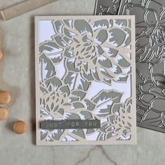 5 April 2017 : Altenew Layered Floral Cover Dies. Card by @craftwalks For the next card I used Layered Floral A and Layered Floral B dies. The top layer was die cut out of Woodgrain Powder and the bottom out of Dark Gray cardstock. I then adhered them one on top another and added a sentiment from Label Love set stamped with Industrial Diamond ink.