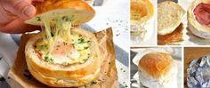 Horká houska plněná vajíčkem sýrem a šunkou