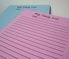 My Daily List Notepad - Large Size - You Choose Color - Customizable - Recycled Paper