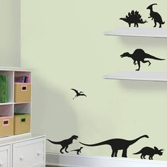 This dinosaur themed wall sticker pack is perfect for decorating children's bedrooms, playrooms and nurserys. These wall stickers are quick to apply and they remove without a residue, a non-pernament way to totally transform a room. Boys Wall Stickers, Dinosaur Wall Stickers, Childrens Wall Stickers, Vinyl Wall Decals, Kids Bedroom Dream, Dream Kids, Contemporary Wall Stickers, Wall Art Wallpaper, Unique Wall Art