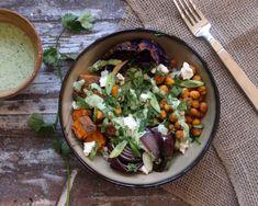 Healthy vegetarian rice bowl recipe with roasted winter veggies, chickpeas with a cilantro yogurt sauce // Endurance Zone