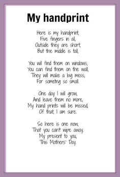 Handprint Poem | Mother's Day poem - My Handprint | KIDSPOT THINGS TO DO: Seasonal occ ...