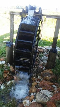 Water wheel to use to generate power to the cabin Water Wheel Generator, Hubby Love, Generators, Alternative Energy, Fences, Waterfalls, Wind Turbine, Wilderness, Homestead