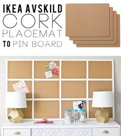 Framed Cork Board out of IKEA cork placemats