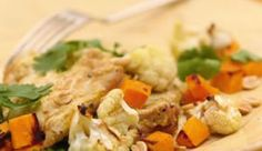 Curried Chicken with Sweet Potatoes & Cauliflower Boneless, skinless chicken thighs, with a little help from the well-seasoned yogurt marinade, remain moist and tender when oven-roasted. Hint: Soaking the prepared vegetables in ice water for 15 minu. Sweet Potato And Cauliflower Recipe, Easy Cauliflower Recipes, Chicken Recipes, Cauliflower Curry, Recipe Chicken, Curry Recipes, Healthy Recipes, Primal Recipes, Healthy Dinners