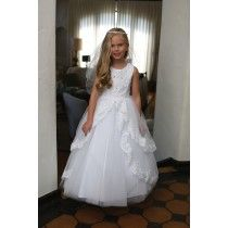 Stunning Satin First Communion Dress with lace trim & appliqués. This White First Communion Gown Features a lace up corset back. Buy Satin First Communion Dresses. Shop Luxury Communion Dresses for Sale Online Girls First Communion Dresses, Holy Communion Dresses, Size 14 Dresses, Dresses For Sale, Casual Wear, Casual Dresses, Lace Dress, White Dress, Our Girl