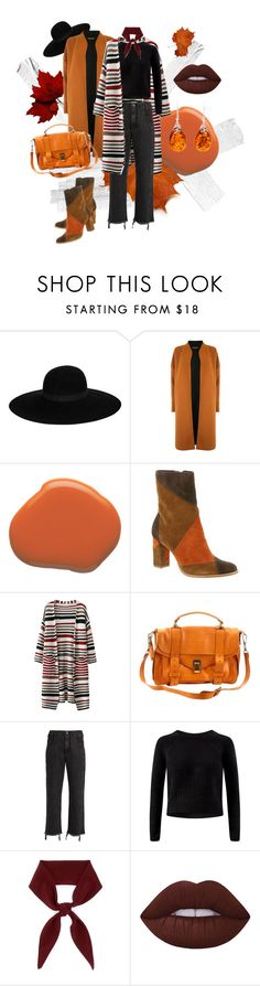 """""""Burnt Orange"""" by fear-gang ❤ liked on Polyvore featuring Maison Michel, Warehouse, Matisse, Proenza Schouler, Rachel Comey, Chloé, Lime Crime, Be-Jewelled, orangeandblack and colorchallenge"""