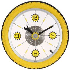 Body is an aluminum bicycle wheel with a yellow and black real rubber tire Wrench hour hand and screw driver minute hand Center sprocket moves every second…
