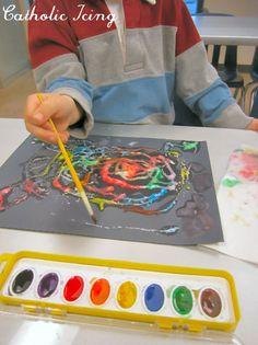 salt paintings with preschoolers