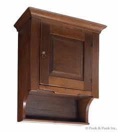 "$720 Pennsylvania cherry hanging cupboard, ca. 1800, 28 1/4"" h., 20"" w."