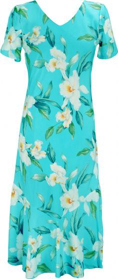 Aloha Kai Ladies Rayon Bias Cut VNeck Dress in Blue