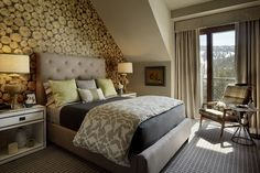 Our Lumberjack Wallpaper in Beech featured in one of 23 richly decorated penthouse residences available at the Ritz-Carlton resort in Tahoe