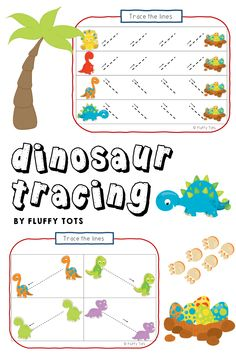 Your Dinosaur lover kids are going to love this NO-MESS, NO-PREP Dinosaurs Tracing Lines for Preschool pack!  Perfect to develop and practice pre-writing skills while they are having fun with the dinosaurs! Dinosaurs Preschool, Dinosaur Activities, Motor Skills Activities, Fine Motor Skills, Dinosaur Printables, Preschool Printables, Pre Writing, Writing Skills, Tracing Lines
