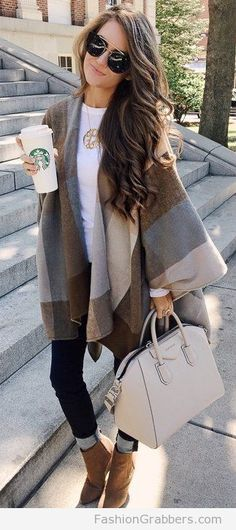 Blanket scarf outfit with jeans and booties