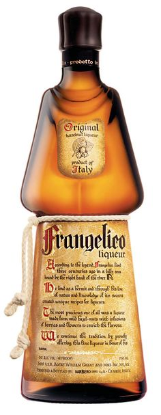 Frangelico is a brand of noisette (hazelnut) and herb-flavored liqueur produced in Canale, Italy. Released in the 1980s, its bottle was designed to look like a friar, complete with a knotted white cord around the waist.  Frangelico (20% ABV) is used in drinks such as the Hazelnut Martini, the Frangelico Colada, and Frangelico and Cranberry Juice. It can be combined with vodka to make the Chocolate Cake shot; it can also be served simply on ice, with soda water, or with coffee.