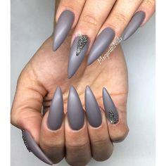 Grey matte stiletto nails Swarovski crystal pixie nail art