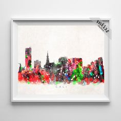 Cali Skyline Watercolor Art Print. Prices from $9.95. Available at www.InkistPrints.com - #inkistprints #watercolor #skyline #poster #print #christmasgift #weddinggift #bedroom #livingroom #mothersdaygift #painting #dormart #giftidea #giftforhim #homedecor #Cali #Colombia