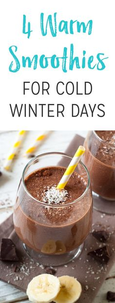 4 Warm Smoothies for Cold Winter Days Here are four recipes for when you want to warm up and get your smoothie fix this winter. And to accompany the recipes, we've also included tips on how to stay hydrated when it's cold out. Healthy Juices, Healthy Smoothies, Healthy Drinks, Healthy Food, Detox Juices, Green Smoothies, Detox Drinks, Eating Healthy, Healthy Living