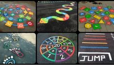 Imagination Excercise for kids Preschool Playground, Playground Games, Outdoor Playground, Preschool Activities, Playground Painting, Playground Flooring, Outdoor Classroom, Outdoor School, Jasmin Party