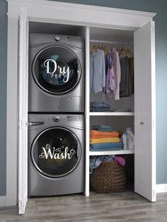 Laundry Room Remodel, Laundry Room Organization, Laundry Room Design, Small Laundry Rooms, Stackable Washer And Dryer, Stacked Washer Dryer, Washer And Dryer Sizes, Laundry Center, Laundry Dryer