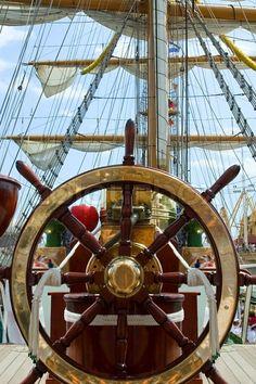 Old ship wheel stock image. Image of brass, nautical - 26030039 Boat Steering Wheels, Navigator Of The Seas, Pirate Boats, Sailboat Living, Old Sailing Ships, Old Boats, Ship Wheel, Yacht Boat, Sail Away