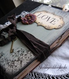 Wedding Signature Book in Vintage Shabby Chic Style Black