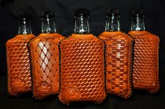 Knock Bottles - Nate May Leather Shop- woven leather hip flask case detail Leather Gifts, Leather Craft, Leather Bag, Leather Tooling Patterns, Tandy Leather, Leather Carving, Vintage Bottles, Leather Projects, Leather Accessories