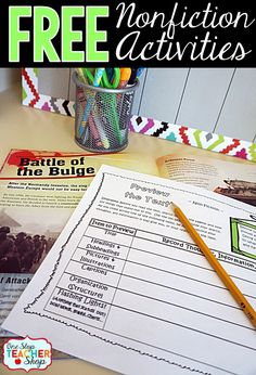 Free Nonfiction activity sheets. These graphic organizers can be paired with any Nonfiction text! No Prep! Not just a worksheet.