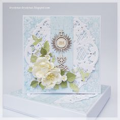 Krystynas i jej papierowy świat, Light blue card with white flowers Communion, Shabby Chic Cards, Christian Cards, Die Cut Cards, Cute Cards, Invitation Cards, Cardmaking, Birthday Cards, Decorative Boxes