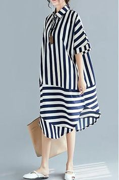 Material: Comfortable MaterialSilhouette: LooseFabric: Fabric has some stretchSeason: SummerType: Dress Sleeve Length: ShortColor: StripedDresses Length: Knee LengthStyle: Vacation, CasualSize: cm,Shoulder cm,Shoulder cm,Shoulder cm Long Summer Dresses, Simple Dresses, Casual Dresses, Fashion Dresses, Dresses With Sleeves, Long Dresses, Blue Dresses, Sleeve Dresses, Elisa Cavaletti