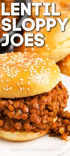 Lentil sloppy joes are a great vegetarian version of a classic dish! Made with lentils, veggies, and a tangy tomato sauce mixture they are hearty and delicious. Homemade Sloppy Joe Recipe, Homemade Sloppy Joes, Sloppy Joes Recipe, Slow Cooker Sloppy Joes, Lentil Recipes, Vegetarian Recipes, Cooking Recipes, Easy Recipes, Vegetarian Sandwiches