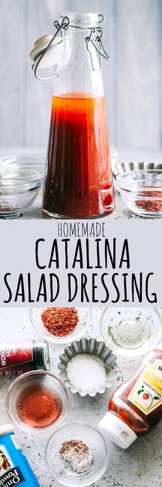 Homemade Catalina Salad Dressing – A delicious copycat version of Catalina Dressing that is so much better than store-bought, and it's quick and easy to prepare using ingredients you already have on hand. Copycat Recipes, Sauce Recipes, Cooking Recipes, Rub Recipes, Easy Recipes, Healthy Recipes, Catalina Salad Dressing, Salad Dressing Recipes, Salad Dressings