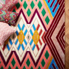 A Rum Fellow, Kaya, rufted rug inspired by the patterns and colors worn by women in Mayan tribes