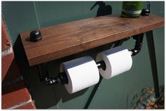 Twin TP Holder With Solid Walnut Shelf by 9thAveIronWorks on Etsy
