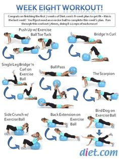 Week 8's workout plan uses an exercise ball