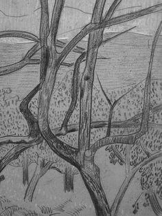 """SERUSIER Paul - Le Verger (Louvre RF40965-Recto) - Detail 14  -  TAGS/ details détail détails detalles drawing drawings dessins dessin croquis étude study studies sketch sketches """"dessins 19e"""" """"19th-century drawings"""" croquis étude study studies sketch sketches """"dessin français"""" """" French drawings"""" """"peintres français"""" """"French painters"""" Louvre Paris France Musée museum arbres tree trees trunk orchard grove nature"""