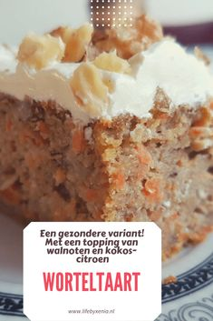 Carrot cake, a healthier variant with a topping of walnuts and coconut lemon ⋆ - Carrot cake, a healthier variant with a topping of walnuts and coconut lemon – - Gluten Free Donuts, Gluten Free Pumpkin, Diabetic Desserts, Delicious Desserts, Fall Recipes, Vegan Recipes, Dutch Recipes, Healthy Cake, Healthy Drinks